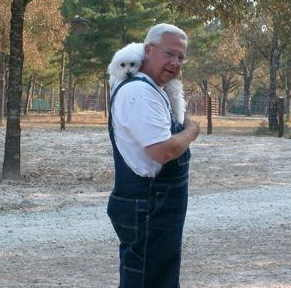 Doug Stotts with pet Griffin at Stotts Hideaway Ranch