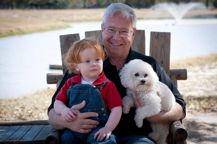Doug Stotts with grandson Lucas Ridley, and pet Griffin